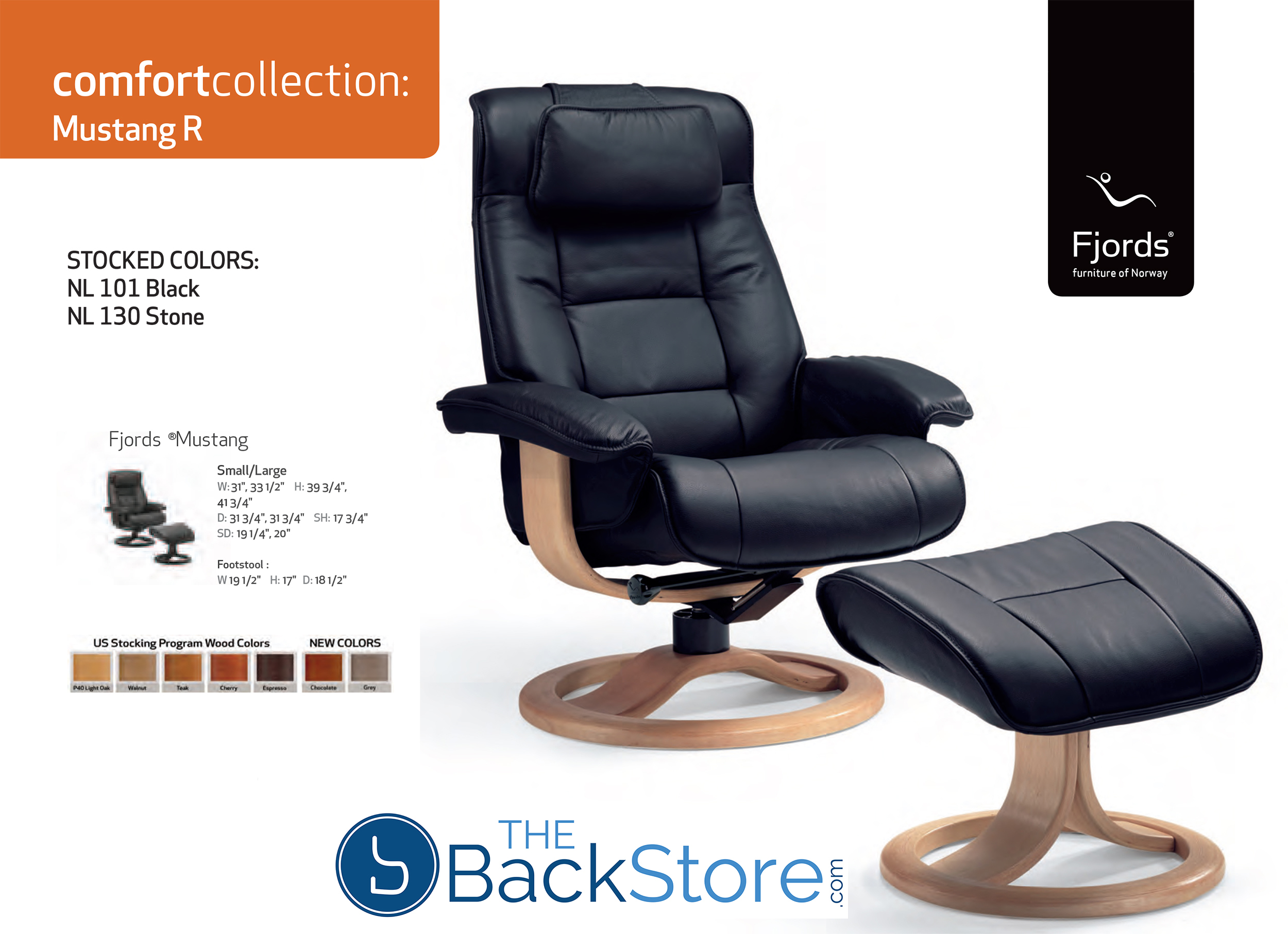 Fjords Mustang Leather Recliner Chair And Ottoman