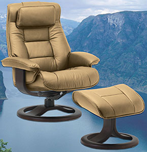 Wondrous Fjords Mustang Ergonomic Leather Recliner Chair Ottoman Scandinavian Norwegian Lounge Chair By Hjellegjerde Ocoug Best Dining Table And Chair Ideas Images Ocougorg